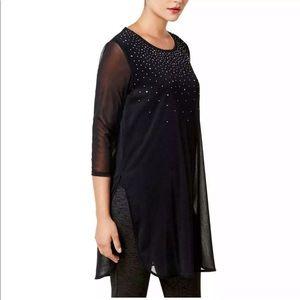 New ALFANI Embellished Tunic Black 3/4 Sleeve  LG